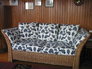 2003 photos of upholstered furniture and cushion at Cape Cod Upholstery Shop located on Cape Cod in South Dennis, MA 02660