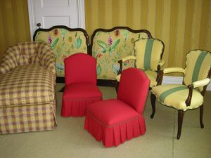 2004 photos of upholstered furniture and cushion at Cape Cod Upholstery Shop located on Cape Cod in South Dennis, MA 02660