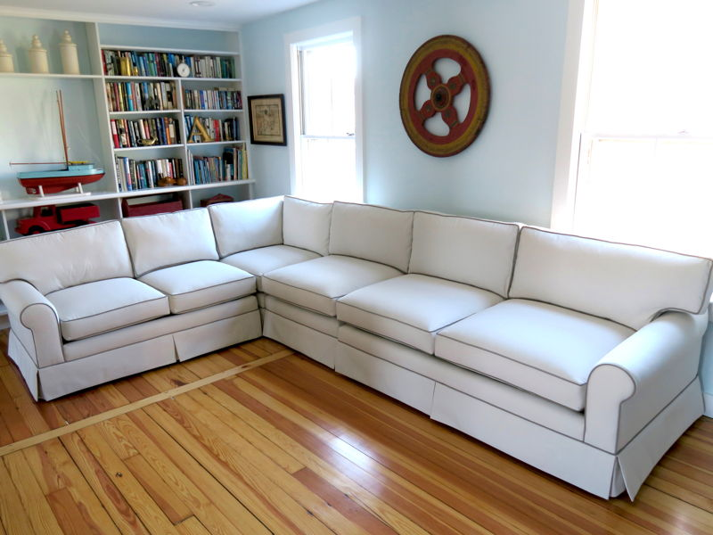Photo of four piece sectional sofa upholstered in a Sunbrella fabric by Cape Cod Upholstery Shop in Dennis, MA