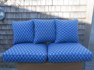 2017 photos of upholstered furniture and cushion at Cape Cod Upholstery Shop located on Cape Cod in South Dennis, MA 02660