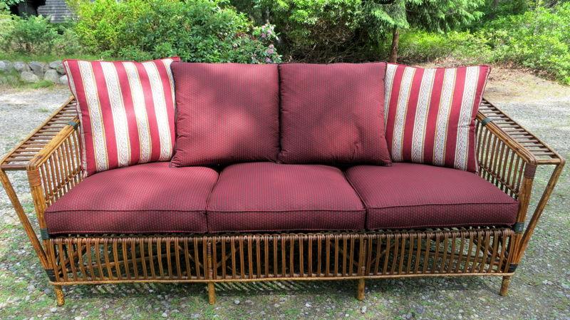 Photo of Stick Wicker or Rattan Sofa | Joe Gramm Upholsterer | Cape Cod Upholstery Shop | South Dennis, MA