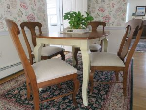 Upholstered dining room chairs by Cape Cod Upholstery Shop