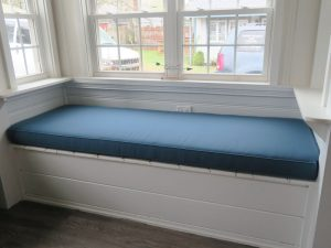 Window Seat Cushion | Blue Sunbrella | Joe Gramm Upholsterer | Cape Cod Upholstery Shop located in South Dennis, MA