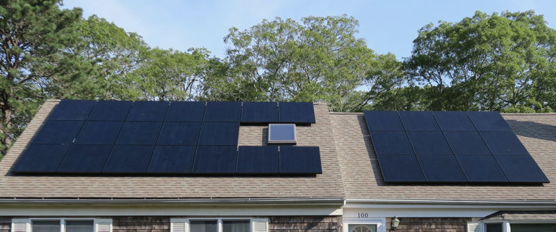 Photo of Roof top solar panels that provide all of the electricity to Cape Cod Upholstery Shop located in South Dennis, Ma