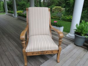 Oak Arm Chair Upholstered in a Cotton Stripe | Joe Gramm Upholsterer from Cape Cod Upholstery Shop Located in South Dennis, MA