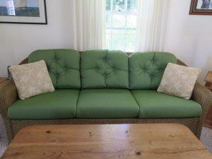 Wicker Sofa Cushions in a Sunbrella Spectrum Fabric   Joe Gramm Upholsterer   cape Cod Upholstery Shop Located in South Dennis, MA