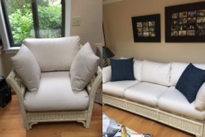 Wicker with Sunbrella Demo-Parchment fabric | Upholsterer Joe Gramm | Cape Cod Upholstery Shop in South Dennis, MA