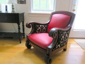 Mahogany Arm Chair | Joe Gramm Upholsterer from Cape Cod Upholstery Shop Located in South Dennis, MA