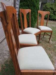 Oak Dining Chairs | Upholstered by Cape Cod Upholstery Shop | South Dennis, MA