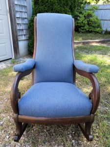 Antique Rocker front view | Ready for Delivery | Upholstered by Cape Cod Upholstery Shop | South Dennis, MA