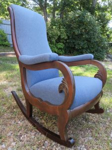Antique Rocker Side View | Ready for Delivery | Upholstered by Cape Cod Upholstery Shop | South Dennis, MA