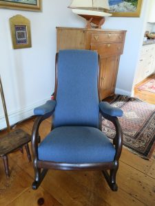 Antique Rocker front view | Upholstered by Cape Cod Upholstery Shop | South Dennis, MA