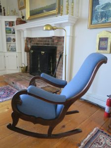 Antique Rocker side view | Upholstered by Cape Cod Upholstery Shop | South Dennis, MA