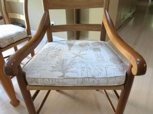 Dining Room Seat Cushion Front View | Upholstered by Cape Cod Upholstery Shop | South Dennis, MA