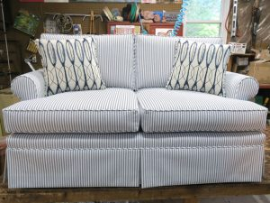 Upholstered Love Seat | Greenhouse Fabrics indoor outdoor ticking fabric | Upholstered by Cape Cod Upholstery Shop | Located in South Dennis, MA