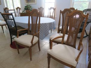 Set of 8 Dining Seats | Greenhouse Fabrics Crypton Fabric | Upholstered by Cape Cod Upholstery Shop | Located in South Dennis, MA