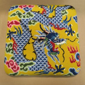 Needlepoint Dragon Stool Slipseat | Upholstered by Cape Cod Upholstery Shop | Located in South Dennis, MA
