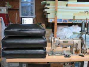 Black Vinyl Sofa Cushions | Upholstered by Cape Cod Upholstery Shop | Located in South Dennis, MA