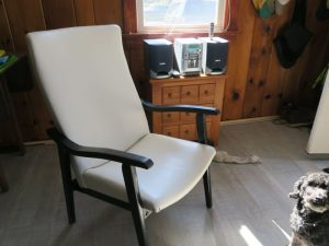 White vinyl cottage chair | Upholstered by Cape Cod Upholstery Shop | Located in South Dennis, MA