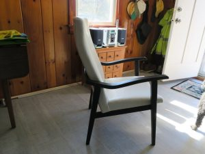 White vinyl cottage chair (3) | Upholstered by Cape Cod Upholstery Shop | Located in South Dennis, MA
