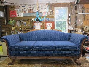 Antique 3 Cushion Sofa with a Greenhouse Fabrics diamond and dot pattern | Upholstered by Cape Cod Upholstery Shop | Located in South Dennis, MA