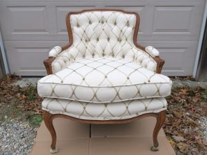 Tufted Back Bergere Style Chair | Upholstered by Cape Cod Upholstery Shop | Located in South Dennis, MA