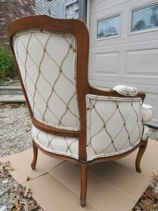 Tufted Back Bergere Style Chair Side View | Upholstered by Cape Cod Upholstery Shop | Located in South Dennis, MA