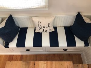 Blue & White Bench Cushion | Upholstered by Cape Cod Upholstery Shop | Located in South Dennis, MA