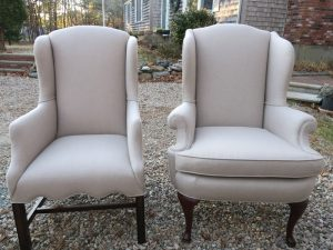Chippendale & Queen Ann Wing Chairs in a Sunbrella Fabric | Upholstered by Cape Cod Upholstery Shop | Located in South Dennis, MA