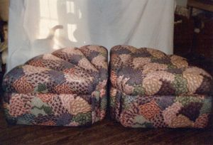 Pie shaped ottomans | Upholstered by Cape Cod Upholstery Shop | Located in South Dennis, MA
