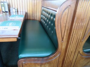 Clancy's Restaurant Booth Seat | Upholstered by Cape Cod Upholstery Shop | Located in South Dennis, Ma
