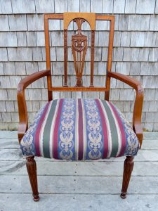 Sheraton Style Chair with a Classic Damask Stripe Fabric | Upholstered by Cape Cod Upholstery Shop | Located in South Dennis, MA