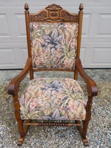 Old North Wind Rocking Chair   Upholstered by Cape Cod Upholstery Shop   Located in South Dennis, MA