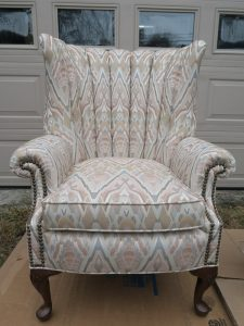 Channel Back Chair with Decorative Brass Nails   Upholstered by Cape Cod Upholstery Shop   Located in South Dennis, MA