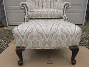 Ottoman and Channel Back Chair | Upholstered by Cape Cod Upholstery Shop | Located in South Dennis, MA