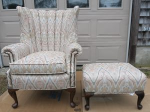 Channel Back Chair and Ottoman | Upholstered by Cape Cod Upholstery Shop | Located in South Dennis, MA