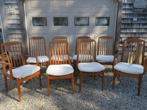 Set of 8 Teak Dining Chairs in a Greenhouse Fabrics Crypton | Upholstered by Cape Cod Upholstery Shop | Located in South Dennis, MA
