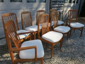 Teak Dining Chairs in a Greenhouse Fabrics Crypton | Upholstered by Cape Cod Upholstery Shop | Located in South Dennis, MA