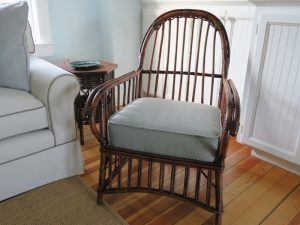 Stick Wicker Upholstered Chair Seat in a Turquoise Herringbone Stripe Fabric   Upholstered by Cape Cod Upholstery Shop   Located in South Dennis, MA