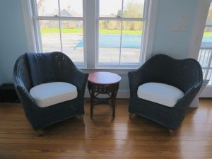 Curved Back Wicker Chair Seat Cushions   Upholstered in a White Canvas Twill Fabric   Upholstered by Cape Cod Upholstery Shop   Located in South Dennis, MA