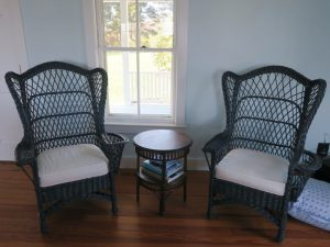 High Back Wicker Chair Seat Cushions   Upholstered in a White Canvas Twill Fabric   Upholstered by Cape Cod Upholstery Shop   Located in South Dennis, MA