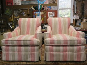Matching Overstuffed Chairs Upholstered in a Bella-Dura Outdoor Stripe | Upholstered by Cape Cod Upholstery Shop | Located in South Dennis, MA