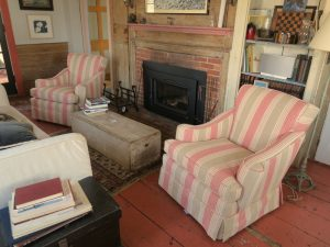 Provincetown Cottage Matching Overstuffed Chairs Upholstered in an Bella-Dura Outdoor Stripe   Upholstered by Cape Cod Upholstery Shop   Located in South Dennis, MA