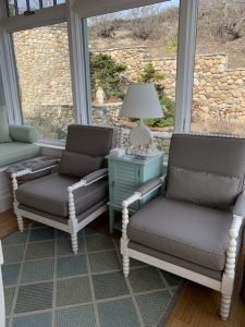 Wellfleet Getaway | Matching Painted Arm Chairs Upholstered in a Sunbrella Canvas | Upholstered by Cape Cod Upholstery Shop | Located in South Dennis, MA