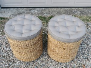 Matching Buttoned Wicker Ottomans Upholstered in a Sunbrella Canvas | Upholstered by Cape Cod Upholstery Shop | Located in South Dennis, MA