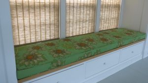 Window Seat Cushion in a Raoul Textiles Floral Print   Upholstered by Cape Cod Upholstery Shop   Located in South Dennis, MA