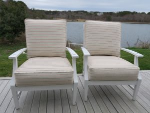 Truro Deck Chairs in an Outdura Performance Fabric | Upholstered by Cape Cod Upholstery Shop | Located in South Dennis, MA