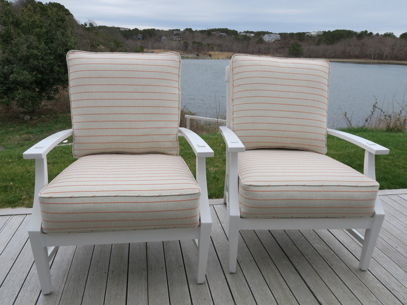 Truro Deck Chairs in an Outdura Fabric | Upholstered by Cape Cod Upholstery Shop | Located in South Dennis, MA