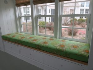 Window Seat Cushion in a Raoul Textiles Floral Linen | Upholstered by Cape Cod Upholstery Shop | Located in South Dennis, MA