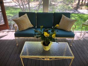 Painted Wrought Iron Sofa   Sunbrella Cushion Covers   Upholstered by Cape Cod Upholstery Shop   Located in South Dennis, MA